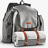 VonShef 4 Person Premium Picnic Backpack Bag Set - Grey Woven
