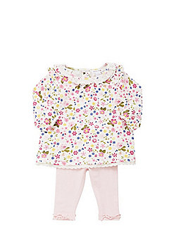 Babaluno Floral Smock Dress and Leggings Set - Multi