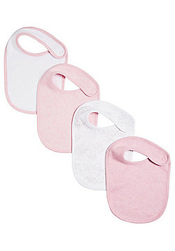F&F 4 Pack of Floral and Plain Round Bibs - Pink