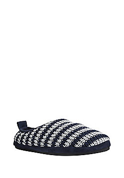 F&F Striped Fleec Lined Knitted Mule Slippers - Navy & Grey