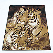 Rugs with Flair Wildlife Tigers Brown Novelty Rug - 120cm x 160cm