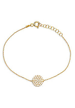 Gold plated sterling silver bracelet with pave circle