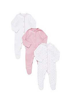 F&F 3 Pack of Polka Dot Sleepsuits - Multi