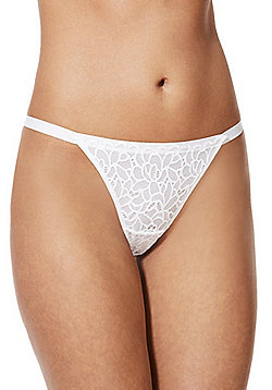 F&F Floral Lace Tanga Briefs - White
