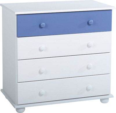 Home Essence Rainbow 4 Drawer Chest - Blue / White