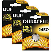 3 x Duracell CR2450 3V Lithium Coin Cell Battery 2450 DL2450 K2450L