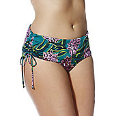 Junarose Tropical Print Plus Size Bikini Briefs - Green