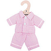 Bigjigs Toys Pink Striped Rag Doll Pyjamas for 28cm Soft Doll - Suitable for 2+ Years