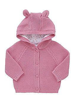 F&F Knitted Hooded Cardigan - Pink