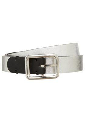 F&F Metallic Faux Leather Reversible Belt Black M