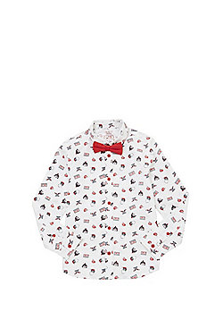 F&F Sleigh Bells Bling Christmas Shirt with Bow Tie - White multi