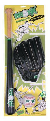 Bronx Baseball Set with Wooden Bat, Ball & Glove