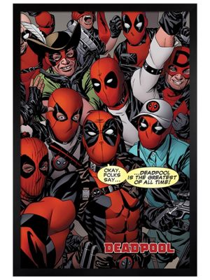 Deadpool Black Wooden Framed Selfie Poster 61x91.5cm