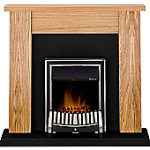 Adam New England Oak & Black Electric Fireplace Suite