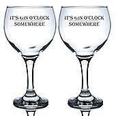 Engraved Gin & Tonic Cocktail Glasses - 645ml Copa Balloon Glasses - x2 - Gin O'Clock Somewhere