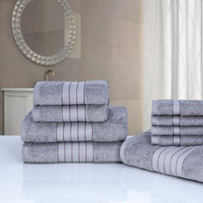 Dreamscene Luxury Egyptian Cotton Towel Bale 9 Piece Set, Silver