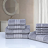 Dreamscene Luxury Egyptian Cotton Towel Bale 9 Piece Set - Silver