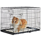 "Milo & Misty 42"" Folding 2 Door Black Puppy & Dog Pet Crate Cage with Non-Chew Metal Tray"