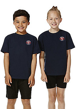 Unisex Embroidered School T-Shirt - Navy