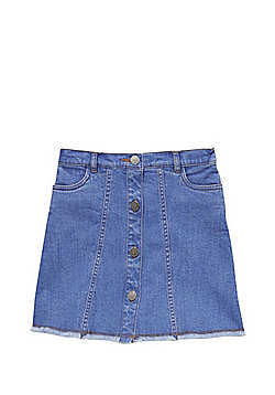 F&F Button-Through Denim Skirt - Blue