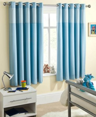Enhanced Living Sweetheart Blue Eyelet Curtains - 66x54 Inches (168x137cm)