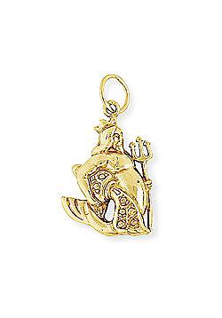 Jewelco London 9ct Light Yellow Gold - Aquarius Charm Pendant -