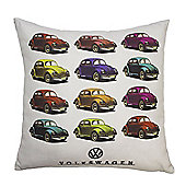 Volkswagen 'Beetles' Retro Cars Filled Scatter Cushion, 43 x 43 cm