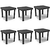 Resol Andorra Plastic Home Garden Sun Lounger Side Table - Grey - 47 x 47cm - Pack of 6