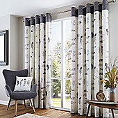 Fusion Idaho Charcoal Eyelet Curtains - 90x72 Inches (229x183cm)