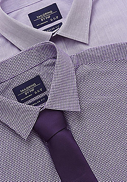 F&F 2 Pack of Easy Care Regular Fit Shirts with Tie - Purple
