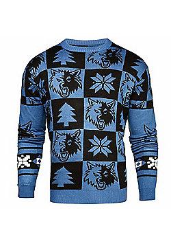 NBA Basketball Minnesota Timberwolves Patches Crew Neck Sweater - Navy & Sky blue