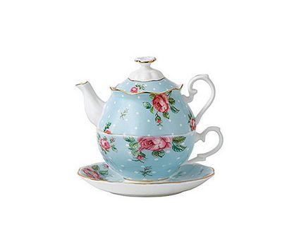 Royal Albert Polka Blue Teapot for One