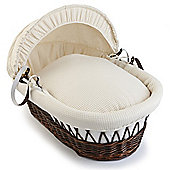 Clair de Lune Dark Wicker Moses Basket (Soft Cotton Waffle Cream)