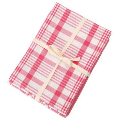 Dexam Love Colour Peony Pink Set of 3 Jumbo Check and Stripe Tea Towels