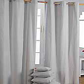Homescapes Cotton Plain Grey Ready Made Eyelet Curtain Pair, 117 x 137 cm