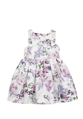 F&F Floral Print Bow Front Prom Dress Lilac Multi 12-18 months