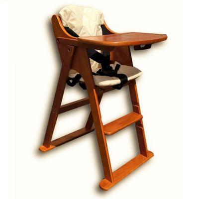 Safetots Putaway Folding Wooden Highchair Darkwood With Cream Cushion