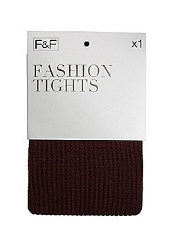 F&F Rib Knit Fashion Tights - Burgundy