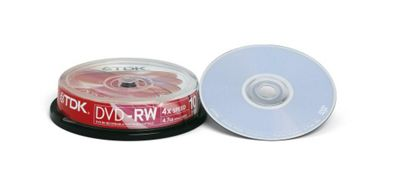 TDK T19524 DVD Rewritable Media, DVD+RW, 4x, 4.70 GB, 10 Pack Cake Box, 120mm