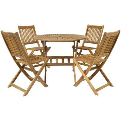 Charles Bentley Hardwood Octagonal Table & 4 Chairs