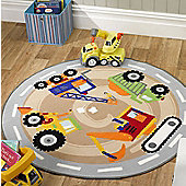 Diggers and Trucks, Circular Rug 133 x 133 cm