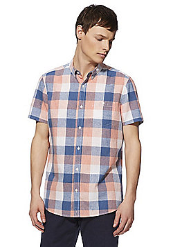 F&F Check Linen-Blend Short Sleeve Shirt - Orange/Blue