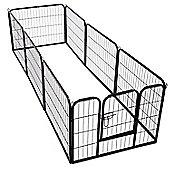 PawHut Dog Pet Puppy Metal Playpen Play Pen Hutch Run Enclosure Foldable Black 80 x 60 cm (Small)