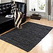 Homescapes Denver Leather Woven Rug Black, 66 x 200 cm