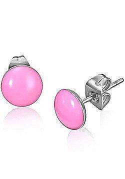 Urban Male Pink Resin & Stainless Steel Stud Earrings 7mm