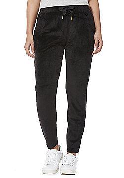 F&F Velour Zip Cuff Tapered Joggers - Black