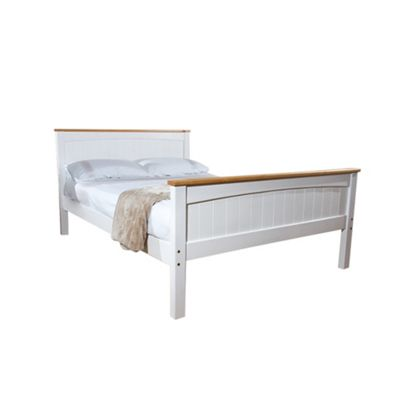 Comfy Living 4ft6 Double Solid Wooden Bed Frame in White with Caramel Bar & Basic Budget Mattress