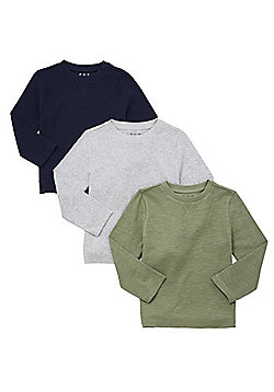 F&F 3 Pack of Waffle Jersey Long Sleeve T-Shirts - Multi