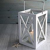 Small White Wooden Storm Lantern