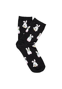 F&F Easter Bunny Ankle Socks - Black multi